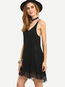 Black Deep V Neck Lace Hem Dress
