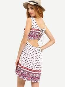Multicolour Sleeveless Vintage Print High Low Dress
