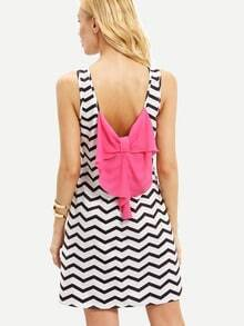 Black White Sleeveless Striped Bow Shift Dress