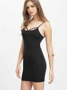 Spaghetti Strap Black Bodycon Dress