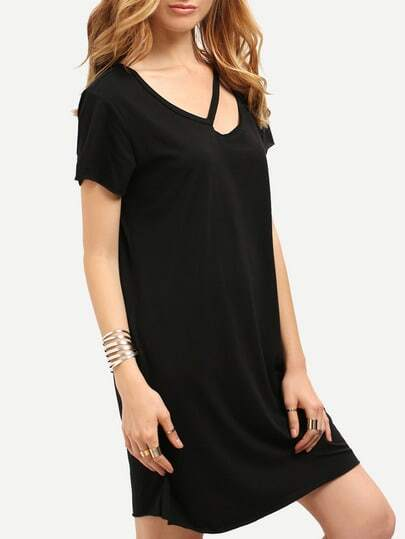 Black Short Sleeve V Neck Cut Out Casual Dress