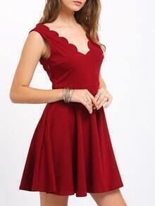 Wine Red Sleevelss Sweetheart Neck Flare Dress