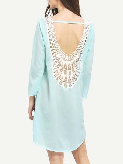 Neon Blue Seafoam Lace Crochet Shift Dress