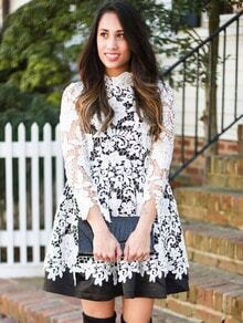 White Black Crochet Lace Flare Dress