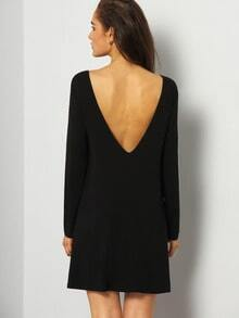 Black Long Sleeve Minimalist Simple V Back Dress