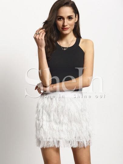 Beige Faux Fur Feather A Line Skirt