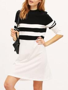 White Black Long Sleeve Color Block Dress
