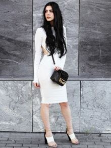 White Crew Neck Backless Sheath Dress