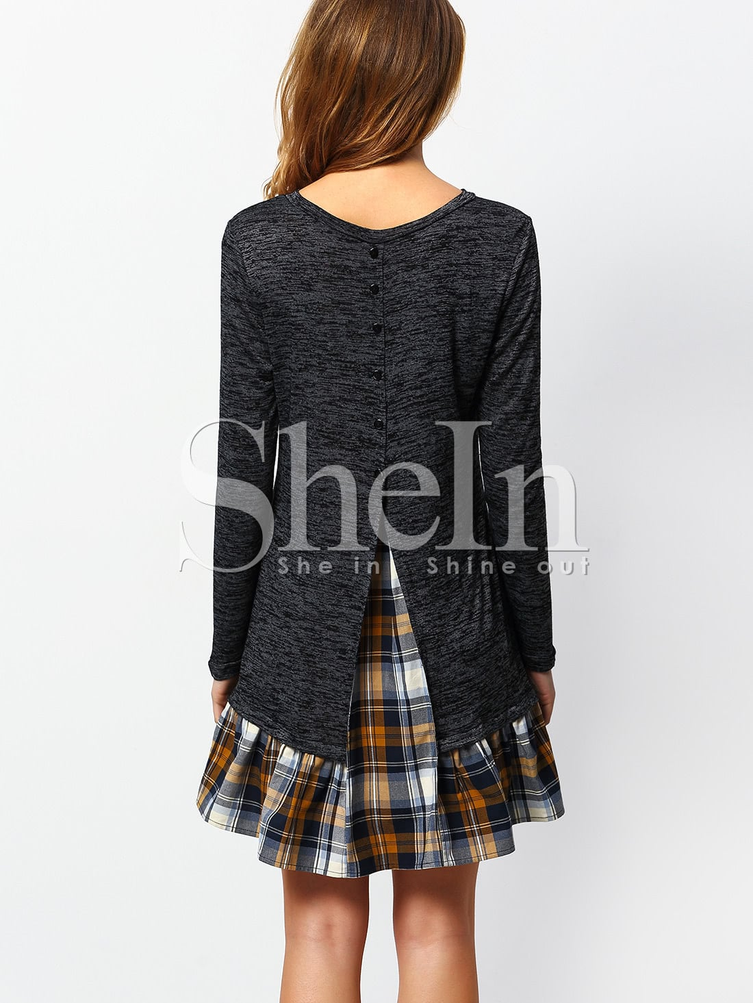 Long Sleeve Contrast Plaid Dress