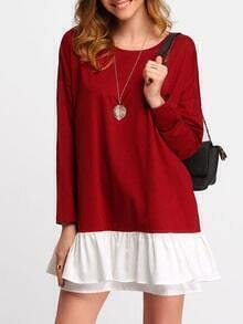 Burgundy Contrast Flounce Dress
