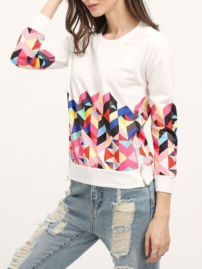 Geometric Print Patterns Loose Sweatshirt