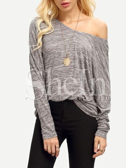 Grey Long Sleeve V Back Loose T-Shirt