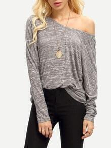 Grey Long Sleeve V Back Loose T-Shirt