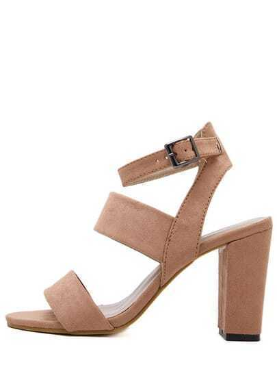 Camel Peep Toe Chunky Ankle Strap Sandals