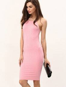 Pink Knitted Rib Spaghetti Strap Bodycon Dress
