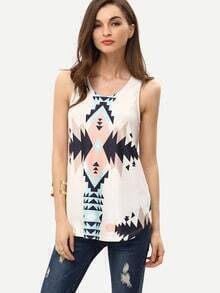 Geometric Print In White Tank Top