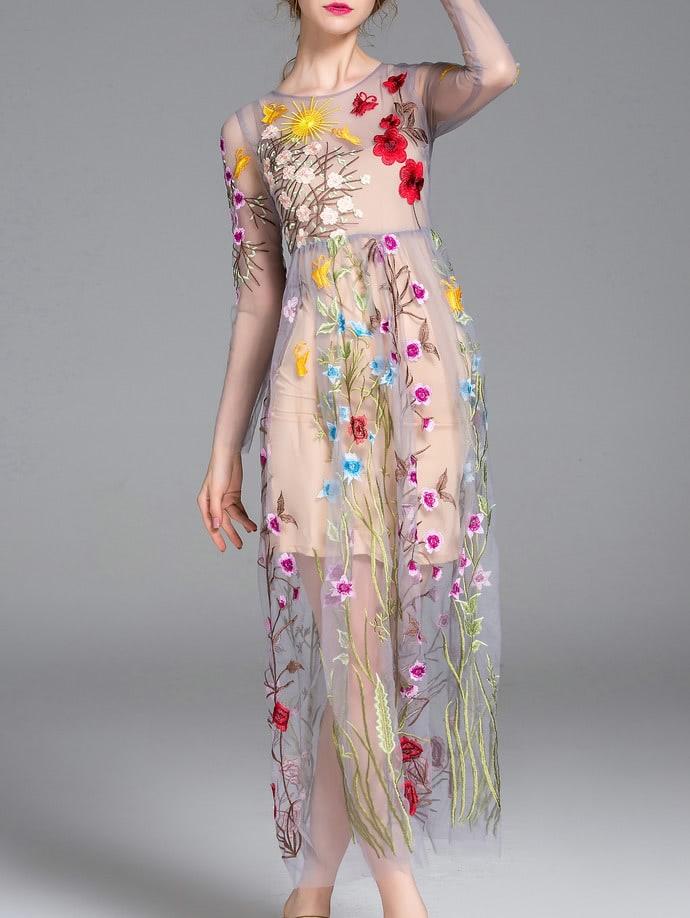 Фото Grey Sheer Gauze Embroidered Maxi Dress. Купить с доставкой