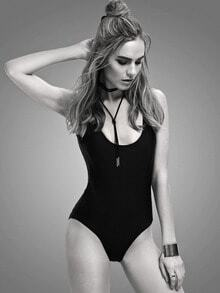Backless One Piece Black Swimwear