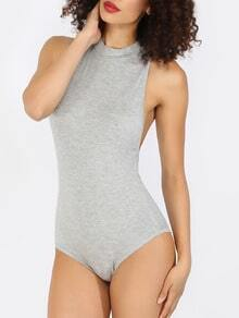 Grey Sleeveless Mock Neck Bodysuit