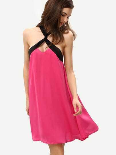 Rose Black Crisscross Neck Sleeveless Shift Dress