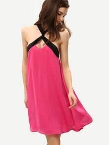Vestido escote cruzado sin manga holgado -rosa negro