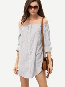 Vertical Stripe Off The Shoulder Dolphin Hem Dress