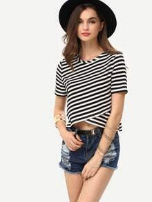 Breton Stripe Wrap Front Crop T-shirt
