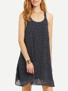 Blue Sleeveless White Polka Dots Shift Dress