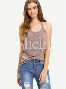 Grey Weaved Backless Cami Top