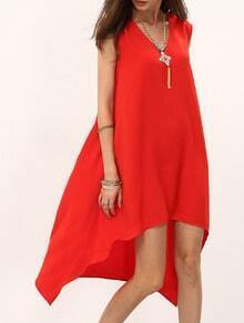 Red V Neck High Low Shift Dress