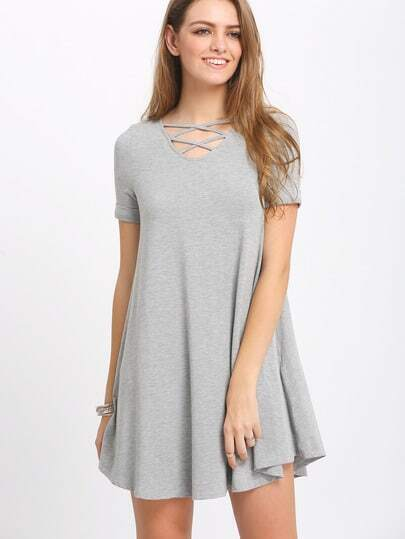 Grey Crisscross Short Sleeve Casual Dress