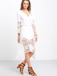 Beige Patchwork Crochet Irregular Beach Dress