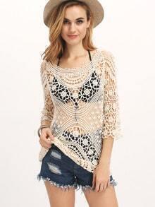 Apricot Long Sleeve Style Crochet Lace Blouse