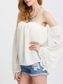 Beige Spaghettic Strap Bell Sleeve Crochet Lace Blouse
