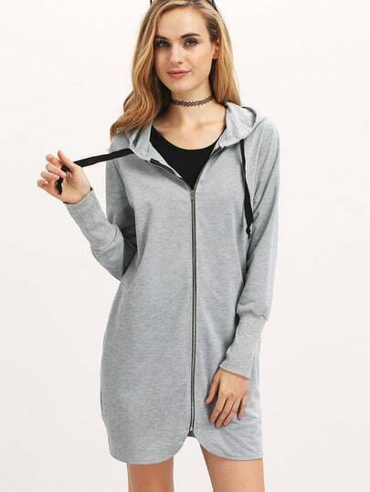 Sweat-shirt zippé capuche -gris
