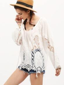 White Bell Sleeve Lace Blouse