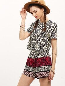 Vintage Print Crop Blouse With Shorts