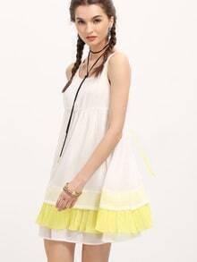 White Color Block Lace Up Back Flounce Tent Dress