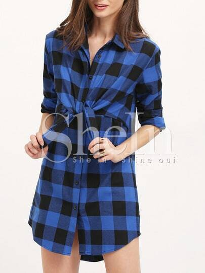 Blue Black Lapel Plaid Dress