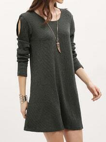Dark Green Long Sleeve Casual Dress