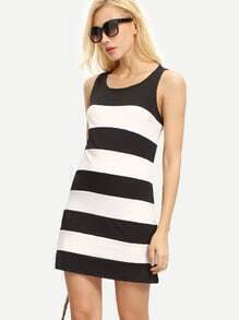 Color Block Sleeveless Casual Dress