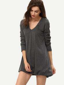 Grey V Neck Loose Asymetric High Low Dress
