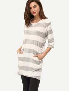 Grey White Half Sleeve Striped Dress