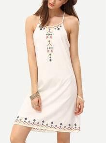 White Spaghetti Strap Backless Embroidery Slip Dress