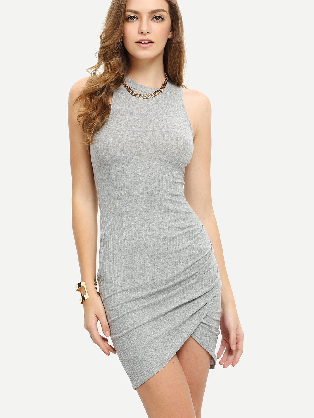 Crew Neck Sleeveless Ribbed Wrap Dress dress160311704