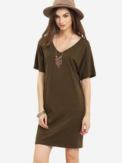 Army Green V Neck Short Sleeve Shift Dress
