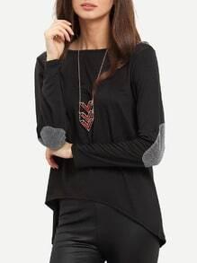 Black Dip Hem Sparkely Glittery Cozy Costume Loose T-shirt