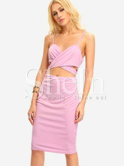 Purple Spaghetti Strap Cut Out Dress