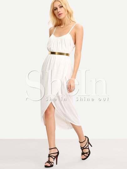 White Spaghetti Strap Split Slim Dress