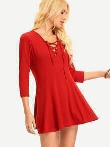 Burgundy Deep V Neck Lace Up Dress